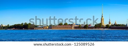 Panorama of St. Petersburg. Peter and Paul Fortress in summer day - stock photo