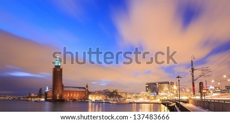 Panorama of Stockholm City Hall at dusk twilight Sweden - stock photo