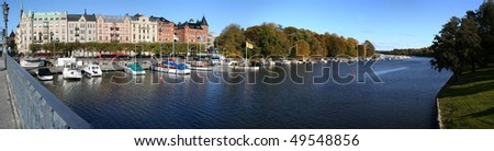Panorama of Stockholm taken during sunny autumn day - stock photo