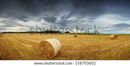 Panorama of straw bales in a field under a dramatic, stormy sky. Rural Scotland between Elgin and Lossiemouth. - stock photo