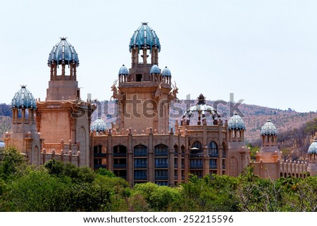 panorama of Sun City, The Palace of Lost City, Luxury Resort in South Africa - stock photo