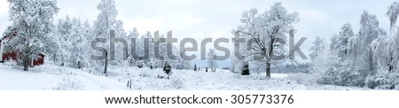Panorama of Swedish winter landscape  - stock photo