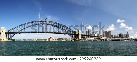 Panorama of Sydney Harbour Bridge and the skyline of Sydney, Australia.