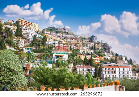Panorama of Taormina, Sicily,Italy. - stock photo