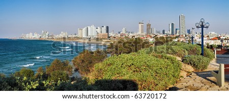 Panorama of Tel-Aviv coastline from Jaffa, Israel - stock photo