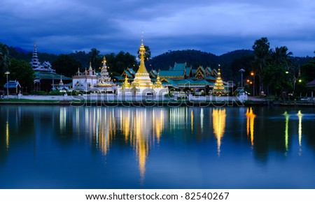 panorama of thai temple - stock photo