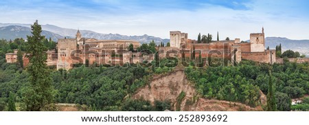 Panorama of the Alhambra from Mirador de San Nicolas in Granada. Andalusia, Spain.