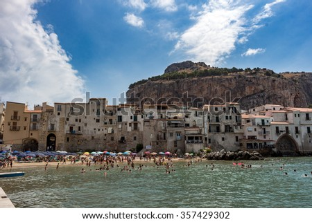 Panorama of the beautiful city of Cefalu, Sicily, Italy, with its famous beach.