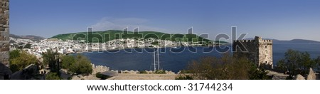 Panorama of the Bodrum Harbour from the Castle - stock photo