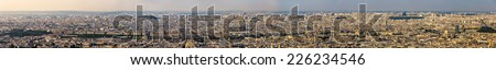 Panorama of the centre of Paris from the Maine-Montparnasse Tower - stock photo