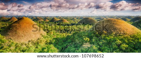 Panorama of The Chocolate Hills. Bohol, Philippines - stock photo