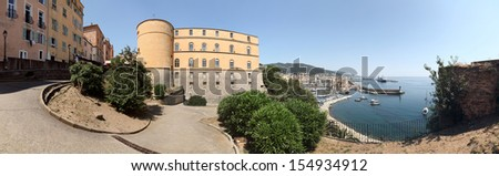 Panorama of the city Bastia - Corsica - view down from the castle to the harbour - stock photo
