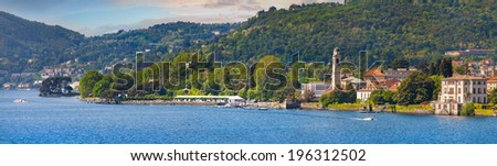 Panorama of the city Cernobbio, a bright sunny day. Italy, the Alps, Lake Como. - stock photo