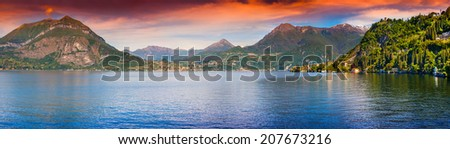 Panorama of the city Dervio at surise, lake Lecco, Alps, Italy. - stock photo