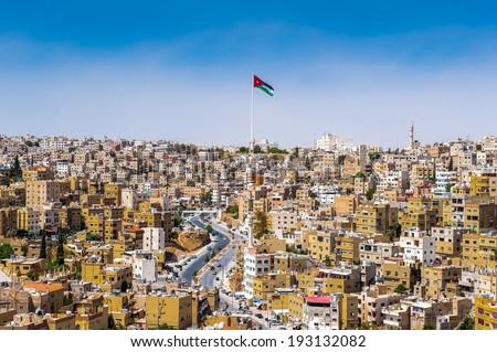 Panorama of the city of Amman, Jordan - stock photo