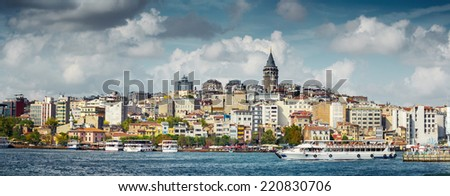 Panorama of the city of Istanbul, view on Galata tower. Turkey - stock photo
