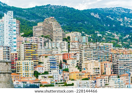 Panorama of the city of Monte Carlo  in Monaco. - stock photo