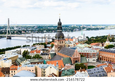 Panorama of the city of Riga, Latvia. View from the Saint Peter's church in Riga, Latvia - stock photo