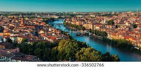 Panorama of the city of Verona at sunrise. Italy - stock photo