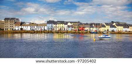 Panorama of the Claddagh in Galway city, Ireland. - stock photo