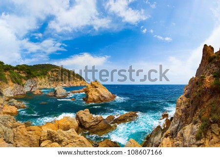 Panorama of the coast with rocks (Spain, Costa Brava, Tossa De Mar) - stock photo