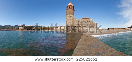 Panorama of the Eglise Notre Dame des Anges in Collioure, France. - stock photo