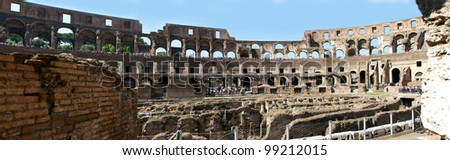 Panorama of the entire Roman Colosseum interior