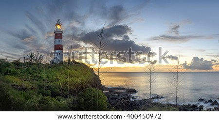 Panorama of the famous lighthouse in Albion, mauritius - stock photo
