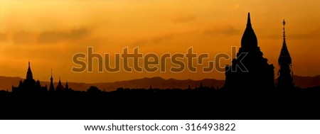 Panorama of the Famous UNESCO protected valley of Bagan , Myanmar at sunset  - stock photo