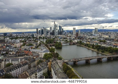 Panorama of the financial district in Frankfurt, Germany. City landscape of Frankfurt