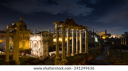 Panorama of the Forum Romanum at night, Rome, Italy - stock photo