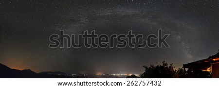 Panorama of the galaxy (milky way) from the location Fanos in eastern central Greece. - stock photo