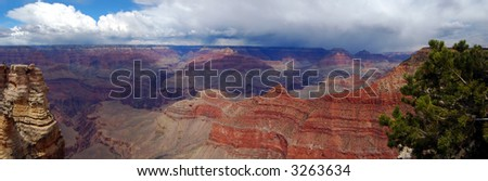 panorama of the Grand Canyon - stock photo