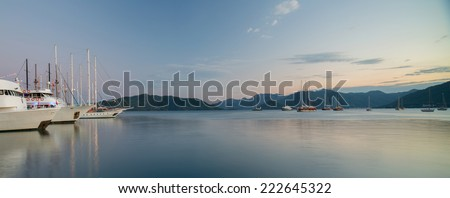 Panorama of the gulf of Marmaris with sail boats and calm sea. Turkey - stock photo