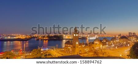 Panorama of the Hamburg harbor - stock photo