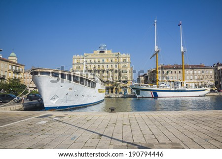 panorama of the harbor of Riejeka in Croatia - stock photo