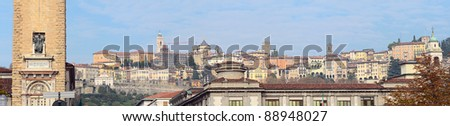 Panorama of the hilltop medieval town of Citta Alta, Bergamo, Lombardy, Italy, Europe, from below