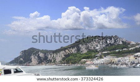 Panorama of the Isle of Capri and It's Harbor - stock photo