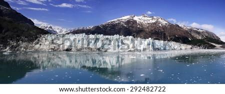 Panorama of the John-Hopskin glacier in Alaska, USA  - stock photo