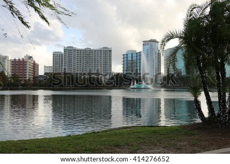 Panorama of the lake and the city center/ lake and the city center/Please visit my portfolio for more photos like this! - stock photo