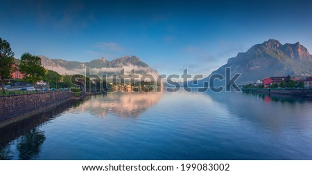 Panorama of the lake Lecco. Lecco, Alps, Italy, Europe. - stock photo