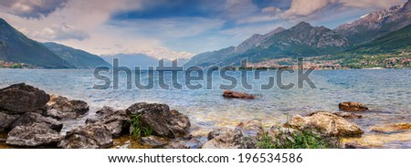 Panorama of the Lake Lecco. Lecco, Italy, Europe. - stock photo