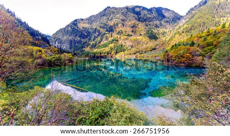 Panorama of the lake with submerged tree trunks. Jiuzhaigou Valley was recognize by UNESCO as a World Heritage Site and a World Biosphere Reserve - China - stock photo