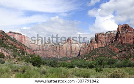 Panorama of the Major Peaks of Zion National Park, Utah - stock photo