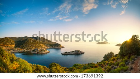 panorama of the Mediterranean coast - stock photo