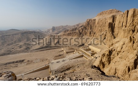 Panorama of the Memorial Temple of Hatshepsut . Luxor, Egypt - stock photo