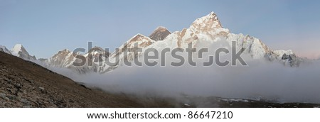 Panorama of the Mt. Everest after sunset, Nepal - stock photo
