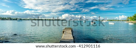 Panorama of the North coast of Mauritius Pointe aux Canonniers, Grand Baie - stock photo