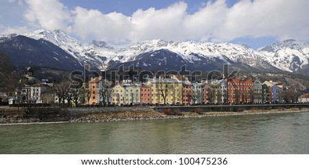 "Panorama of the old town of ""Innsbruck"" in Austria"