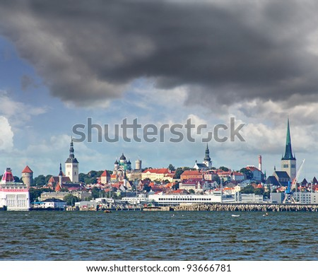 Panorama of the old town. Tallinn, Estonia, World Heritage Site by UNESCO - stock photo